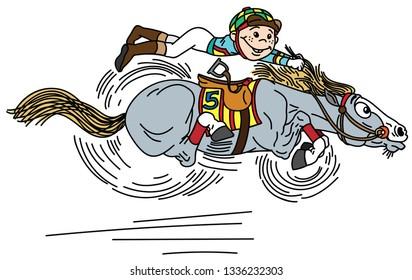 cartoon horse racing derby . Little boy  jockey riding a pony very fast in a race . Funny equestrian sport . Vector illustration