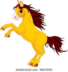 Cartoon  horse rearing up. Isolated