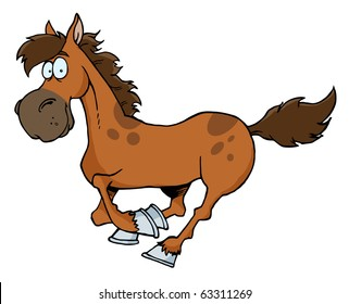 Cartoon Horse Running Without Background