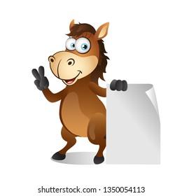 Cartoon Horse standing beside Blank Sign