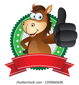 Cartoon Horse thumbs up gesture with ribbon label