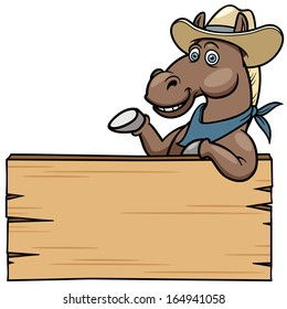 Cartoon Horse with wooden sign