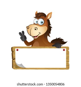 Cartoon Horse with Wooden Signboard
