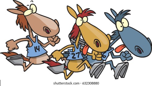 cartoon horses racing