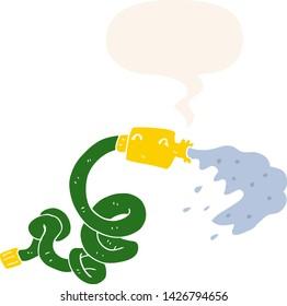 cartoon hosepipe with speech bubble in retro style