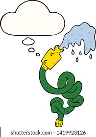 cartoon hosepipe with thought bubble