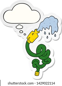 cartoon hosepipe with thought bubble as a printed sticker