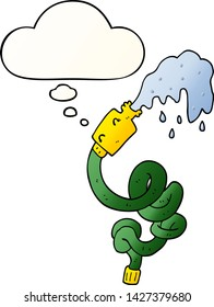 cartoon hosepipe with thought bubble in smooth gradient style