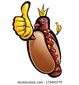 Cartoon hot dog king making thumbs up gesture wearing crown, gloves and sticking out tongue