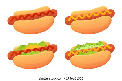 Cartoon Hot dog set. Bun,sausag, ketchup, mustard sause, garnish such as cheese, lettuce. Street food, unhealthy junk food concept. Stock vector illustration isolated on white in flat cartoon style.