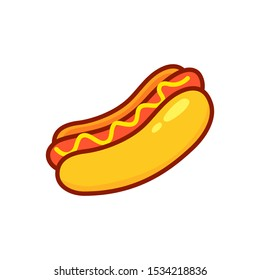 Cartoon Hot Dog. Vector illustration.