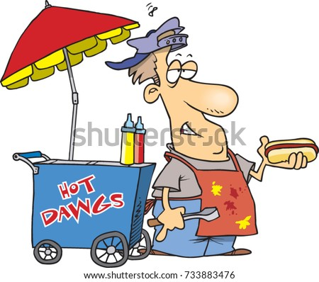 Cartoon Hot Dog Vendor His Cart Stock Vector Royalty Free