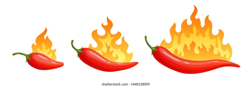 Cartoon hot peppers. Spicy pepper with fire flames and flames red chilli. Red burning fire peppers, spice hot habanero logo or burn spicy mexican tabasco. Isolated vector icons set