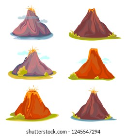 Cartoon hot volcano with magma and lava. Vulcano rock mountains icon set. Vector illustration