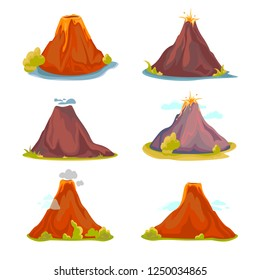 Cartoon hot volcano with magma and lava. Vulcano rock mountains icon set. Vector illustration