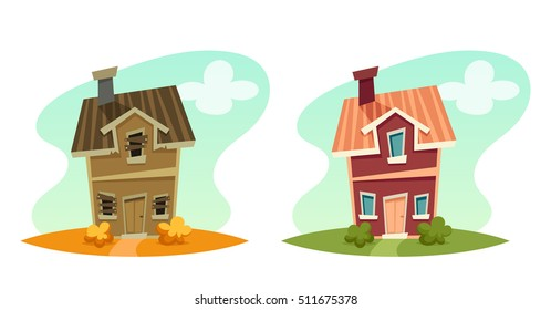 Cartoon House: Broken and Repaired. Vector Illustration