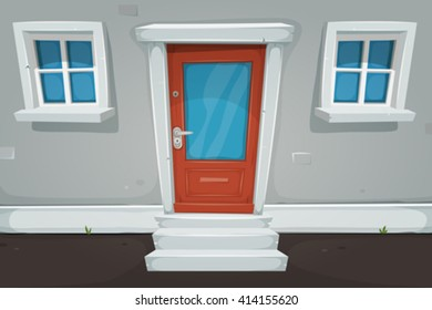 Cartoon House Door And Windows In The Street/ Illustration of a cartoon house front door inside house building, with blue windows