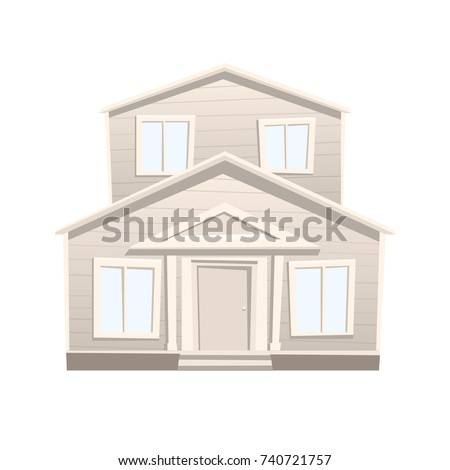 Cartoon House Isolated on White Background. Two Story House in Flat Style. Vector Illustration.