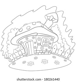 Cartoon house look like a mushroom costs on the fringe of the forest. Coloring book.