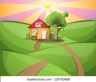 Cartoon house in the middle of a rural landscape on a sunset, EPS 10