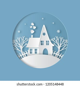 Cartoon house with snowy roof, chimney and smoke. Christmas or New Year card. Winter landscape. Paper art digital craft style. Vector illustration