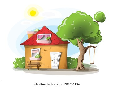 Cartoon house with tree, swing and a bench, on a sunny day, EPS 10, isolated