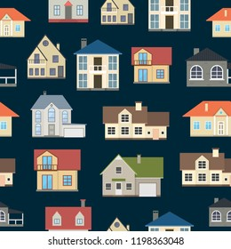 Cartoon Houses Exterior Front Seamless Pattern Background Different Types Home Architecture Concept Flat Design Style. Vector illustration of Facade Building