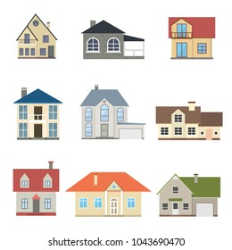 Cartoon Houses Exterior Front Set Different Types Home Architecture Concept Flat Design Style. Vector illustration of Facade Building