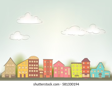 cartoon houses in retro style, sky with clouds. vector illustration