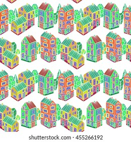 Cartoon Houses set. Colorful Vector seamless pattern.