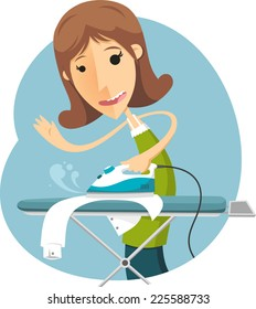 cartoon housewife ironing