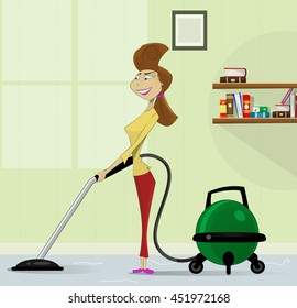 Cartoon housewife with retro vacuum cleaner. The concept of cleaning services, housekeeping. Layered vector illustration