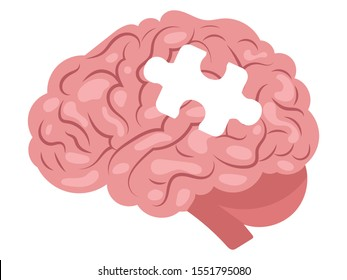 Cartoon human brain with a puzzle. Human organ. Vector illustration of a brain for children.