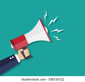 Cartoon human hand holding megaphone. social media marketing concept. vector illustration in flat design on green background.