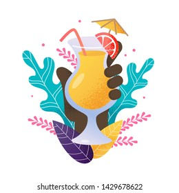 Cartoon  Human Hand Holds Summer Exotic Cocktail. Glass Filled with Refreshing Beverage, Lime, Straw, Decorative Umbrella on Natural Exotic Foliage. Vector Party Invitation Illustration