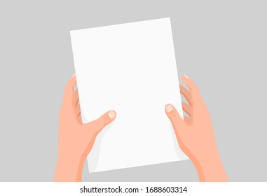 Cartoon human hands hold clear paper sheet template vector graphic illustration. Colored male arms with white empty blank page document isolated on gray background. Concept of advertisement design