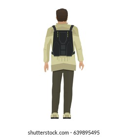 Cartoon human isolated on white background. Man with futuristic backpack. Back view of adult boy. Vector illustration in flat style.