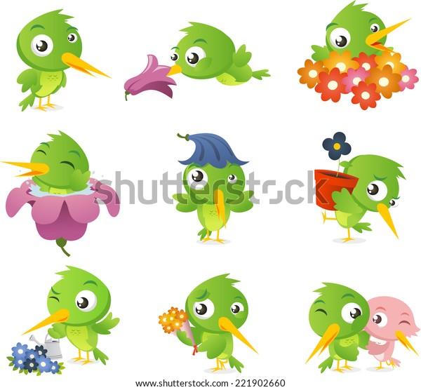 Cartoon hummingbird bird set collection, vector illustration.