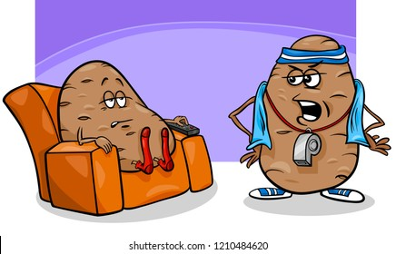 Cartoon Humor Concept Illustration of Couch Potato Saying