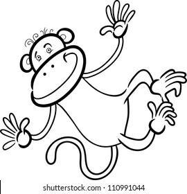 Cartoon Humorous Illustration Of Cute Funny Monkey For Coloring Book