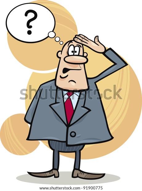 Businessman. Cartoon boss man surprised and sitting at
