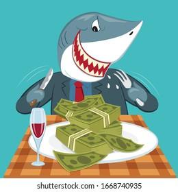 Cartoon Hungry business shark eat money, illustration vector cartoon