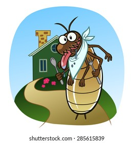 Cartoon hungry termite wants to eat the house.