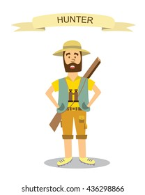 Cartoon hunter with gun. Funny cartoon character. Vector illustration in modern flat style. Isolated on white background