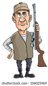 Cartoon hunter holding his gun. Isolated