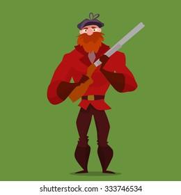 Cartoon Hunter Vector Illustration. Man with gun.