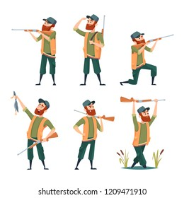 Cartoon hunters. Various characters of hunters at action poses. Hunter character with gun rifle, male with shotgun illustration