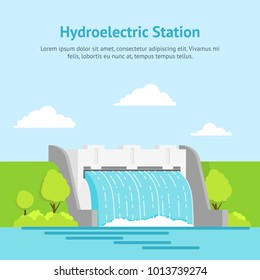 Cartoon Hydroelectric Station River on a Landscape Background Card Poster Alternative Eco Renewable Resource. Vector illustration