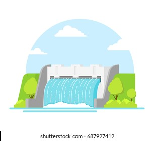 Cartoon Hydroelectric Station River on a Landscape Background Alternative Eco Renewable Resource. Vector illustration