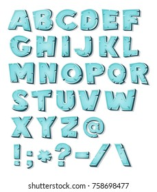 Cartoon Ice Alphabet/ Illustration of a set of icy comic ABC letters and font characters also containing punctuation symbols
